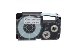 Casio XR-18WE1, 18mm x 8m, čierna tlač/biely podklad, originálna páska