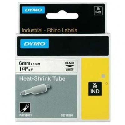 Dymo Rhino 18051, S0718260, 6mm x 1,5m čierna tlač / biely podklad, originálna páska