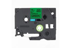 Kompatibilná páska s Brother TZ-FX741 / TZe-FX741, 18mm x 8m, flexi, čierna tlač / zelený podklad