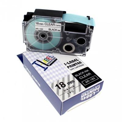 Kompatibilná páska s Casio XR-18X1, 18mm x 8m, čierna tlač/priehľadný podklad