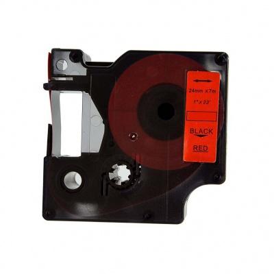 Kompatibilná páska s Dymo 53717, S0720970, 24mm x 7m, čierny tisk / červený podklad