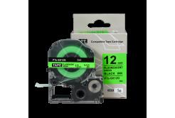 Brother TZe-SK12G, 12mm x 5m, černý tisk / fluorescenční zelený podklad, kompatibilní páska