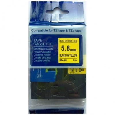 Kompatibilná páska s Brother HSe-611, 5,8mm x 1,5m, čierna tlač / žltý podklad