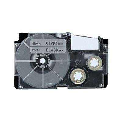 Kompatibilná páska s Casio XR-6SR1 6mm x 8m čierny tisk / strieborný podklad