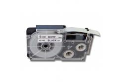 Kompatibilná páska s Casio R5WE 9mm x 2,5m smršťovací čierny tisk / biely podklad