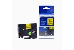 Kompatibilná páska s Brother TZ-611 / TZe-611, 6mm x 8m, čierna tlač / žltý podklad