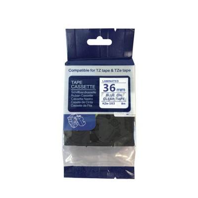 Kompatibilná páska s Brother TZ-163 / TZe-163, 36mm x 8m, modrá tlač / priehľadný podklad