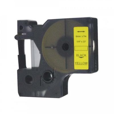Kompatibilná páska s Dymo 43618, S0720790, 6mm x 7m, čierny tisk / žltý podklad