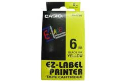 Casio XR-6YW1, 6mm x 8m, čierna tlač/žltý podklad, originálna páska
