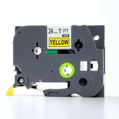 Brother TZe-V651, 24mm x 5,5m, černý tisk / žlutý podklad, vinyl, kompatibilní páska