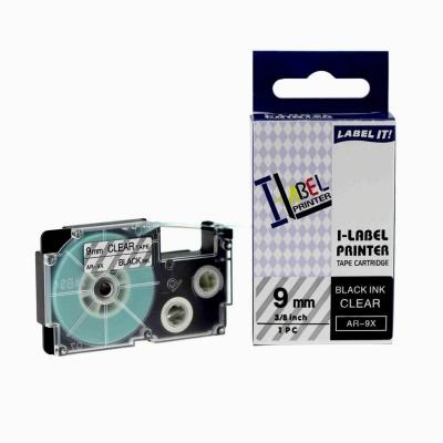 Kompatibilná páska s Casio XR-9X1, 9mm x 8m, čierna tlač/priehľadný podklad