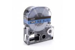 Epson LC-SC6BW, 6mm x 8m, černý tisk / modrý podklad, kompatibilní páska