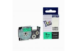 Kompatibilný páska s Casio XR-9GN1, 9mm x 8m, čierna tlač/zelený podklad