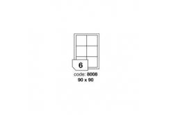 Samolepicí etikety R0100.8008, 90 x 90 mm, 6 etiket, A4, 100 listů