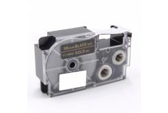 Kompatibilná páska s Casio XR-18BKG 18mm x 8m zlatá tlač / čierny podklad