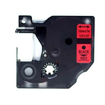 Kompatibilná páska s Dymo 45017, S0720570, 12mm x 7m, čierna tlač/červený podklad