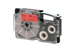 Casio XR-9RD1, 9mm x 8m, čierna tlač/červený podklad, originálna páska