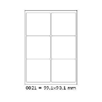 Samolepiace etikety 99,1 x 93,1 mm, 6 etikiet, A4, 100 listov
