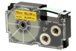 Casio XR-12YW1, 12mm x 8m, čierna tlač/žltý podklad, originálna páska