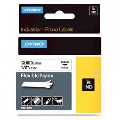Dymo Rhino 18488, S0718100, 12mm x 3,5m čierna tlač / biely podklad, originálna páska