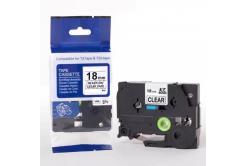 Kompatibilná páska s Brother TZ-FX141 / TZe-FX141, 18mm x 8m, flexi, čierna tlač / priehľadný podklad