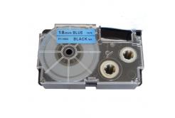 Kompatibilná páska s Casio XR-18BU1, 18mm x 8m, čierna tlač/modrý podklad