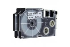 Kompatibilná páska s Casio XR-6WE, 6mm x 8m čierny tisk / biely podklad