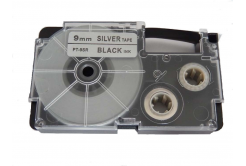 Kompatibilná páska s Casio XR-9SR1 9mm x 8m čierny tisk / strieborný podklad