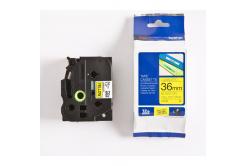 Brother TZ-661 / TZe-661, 36mm x 8m, čierna tlač / žltý podklad, originálna páska