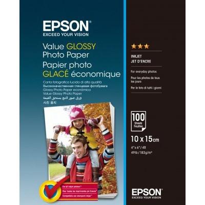 Epson Value Glossy Photo Paper, lesklý bílý foto papír, 10x15cm, 183 g/m2, 100 ks, C13S400039