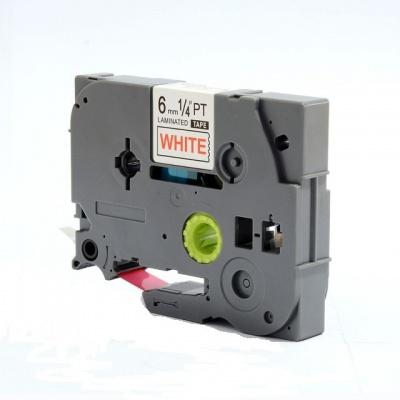 Kompatibilná páska s Brother TZ-212 / TZe-212, 6mm x 8m, červená tlač / biely podklad