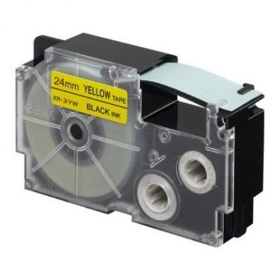 Kompatibilná páska s Casio XR-24YW1, 24mm x 8m, čierna tlač / žltý podklad
