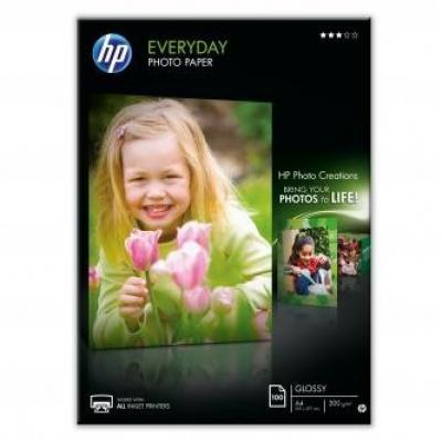 HP Everyday Glossy Photo Paper, foto papír, lesklý, bílý, A4, 200 g/m2, 100 ks, Q2510A, inkoust