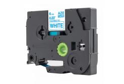 Kompatibilná páska s Brother TZ-FX213 / TZe-FX213, 6mm x 8m, flexi, modra tlač / biely podklad