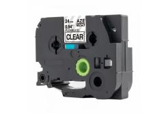Kompatibilná páska s Brother TZ-FX151 / TZe-FX151, 24mm x 8m, flexi, čierna tlač / priehľadný podklad