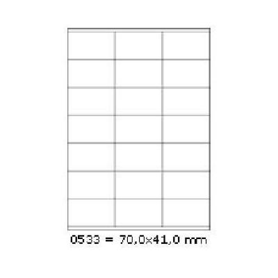 Samolepiace etikety 70 x 41 mm, 21 etikiet, A4, 100 listov