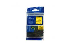 Kompatibilná páska s Brother HSe-641, 17,7mm x 1,5m, čierna tlač / žltý podklad