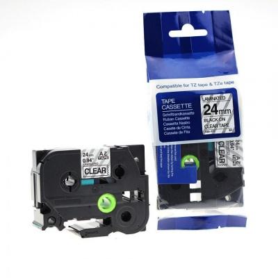 Kompatibilná páska s Brother TZ-151 / TZe-151, 24mm x 8m, čierna tlač / priehľadný podklad