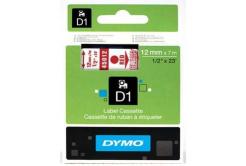 Dymo D1 45012, S0720520, 12mm x 7m, červená tlač / priehľadný podklad, originálna páska