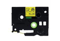 Kompatibilná páska s Brother HSe-631, 11,7mm x 1,5m, čierna tlač / žltý podklad