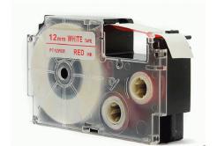 Kompatibilná páska s Casio XR-12WER 12mm x 8m červená tlač / biely podklad