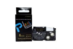 Kompatibilná páska s Casio XR-6BKG 6mm x 8m zlatá tlač / čierny podklad