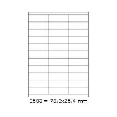 Samolepiace etikety 70 x 25,4 mm, 27 etikiet, A4, 100 listov