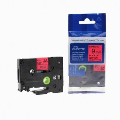 Kompatibilná páska s Brother TZ-421 / TZe-421, 9mm x 8m, čierna tlač / červený podklad