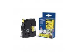 Brother TZ-FX651 / TZe-FX651, 24mm x 8m, čierna tlač/žltý podklad, originálna páska
