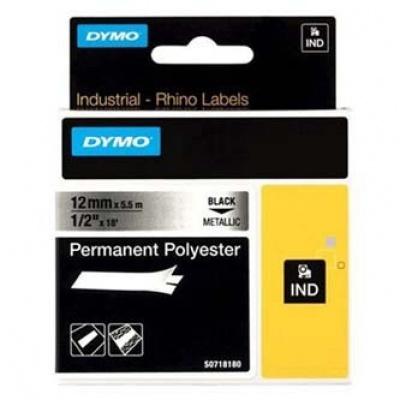 Dymo Rhino 18486, S0718180, 12mm x 5,5m čierna tlač / metalický podklad, originálna páska