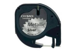 Dymo LetraTag 91208 S0721730 12mm x 4m čierna tlač/strieborný podklad originálna páska metalická