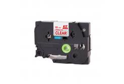 Kompatibilní páska s Brother TZ-142 / TZe-142, 18mm x 8m, červený tisk / průhledný podklad