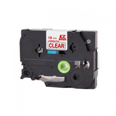 Kompatibilná páska s Brother TZ-142 / TZe-142, 18mm x 8m, červená tlač / priehľadný podklad