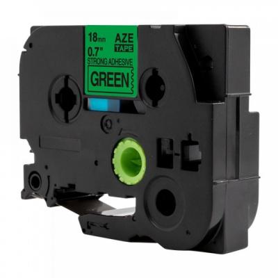 Kompatibilná páska s Brother TZ-S741 / TZe-S741, 18mm x 8m, extr.adh. čierna tlač / zelený podklad